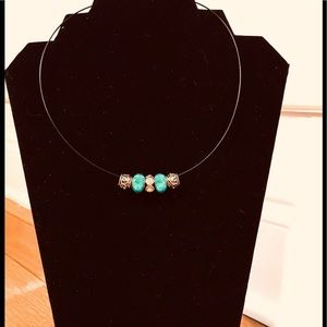 Turquoise and Rhinestone TRend Necklace